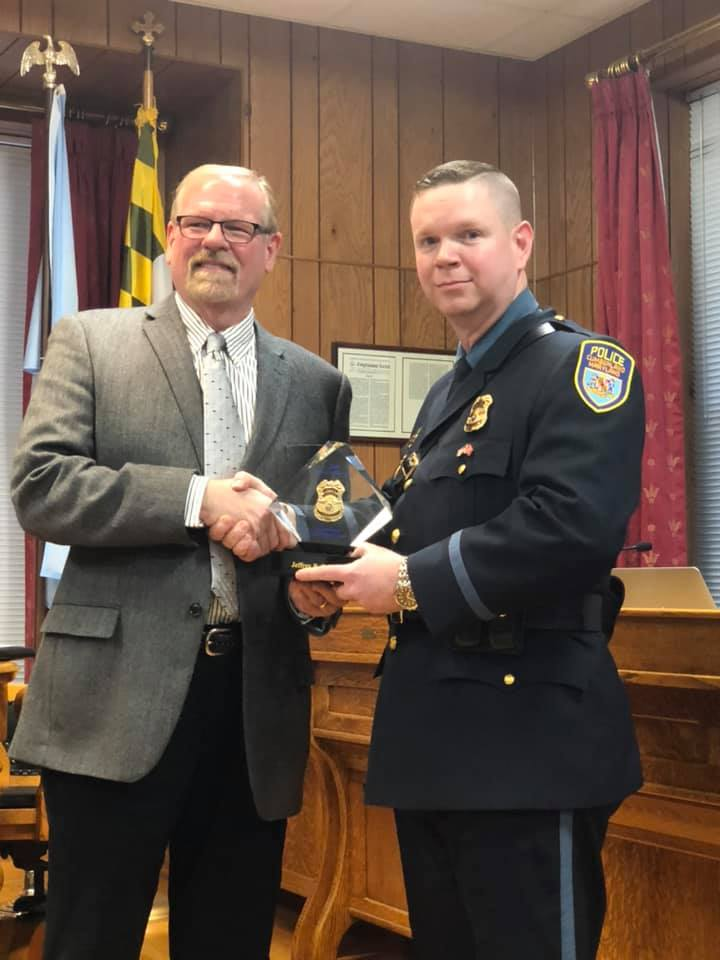 Ptl. Jeffrey Fairley receiving the Officer of the Year Award