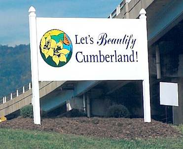 Photograph of a Let's Beautify Cumberland! Sign