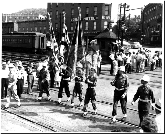 Parade on Baltimore Street Flag Bearers