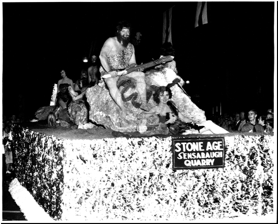 Stone Age Float in the Parade on Baltimore Street